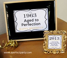 """mom's 50th...paint a plain frame, print on cardstock.  Signs from 50th birthday """"party to go""""  collection."""