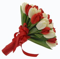 red white flower arrangements | wedding flowers arrangement 20 white and red tulips wedding flowers ...