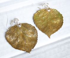 Gold Glitter Aspen Leaf Earrings, Bridesmaid Earrings