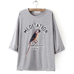 Dropped Shoulder Seam Bird Print Grey T-shirt ($9.79) ❤ liked on Polyvore featuring tops, t-shirts, grey, grey t shirt, round neck t shirt, grey top, grey tee and drop shoulder tops