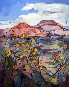 Sunflower Rock Painting by Erin Hanson