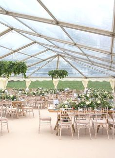 Limewash chiavari chairs, rustic tables and lots of flowers and candles all under a clear roof marquee - gorgeous! Marquee Hire, Marquee Wedding, Devon And Cornwall, Chiavari Chairs, Trestle Table, Exeter, Rustic Table, Somerset, Plymouth