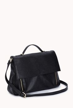 Refined Faux Leather Satchel, Forever21
