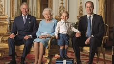 The four generations of the House of Windsor - The Queen, The Prince of Wales, The Duke of Cambridge and cheeky little ...