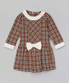Look what I found on #zulily! Orange & White Plaid Skater Dress - Infant, Toddler & Girls by Les Petits Soleils by Fantaisie Kids #zulilyfinds
