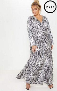 a92c18c6df3 PrettyLittleThing snake print satin long sleeve maxi dress.   prettylittlething  plussize  plussizefashion