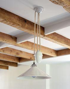 Kitchen Pendant Lighting, Kitchen Pendants, Dining Room Lighting, Pendant Lights, Pendant Lamps, Ceiling Beams, Ceiling Lights, Beamed Ceilings, Pulley Light