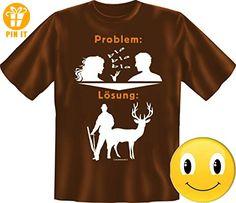 PROBLEM LÖSUNG JÄGER T-Shirt Größe XXL, SCHOKO + Button SMILEY brillanter Siebdruck Geburtstag Geschenk Vatertag - T-Shirts mit Spruch   Lustige und coole T-Shirts   Funny T-Shirts (*Partner-Link)