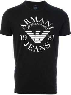 34b135200 Armani Jeans Camiseta com logo Armani Jeans T Shirt, Armani Shirts, Armani  Jeans Men