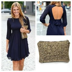 $29.99 Our Jasmine Dress & Rockstar Clutch make the PERFECT combo for an evening out on the town ;) xox Both available now at EsCloset.com!!