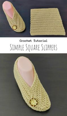 Crochet Simple Square Slippers Easy Crochet Slippers, Crochet Slipper Pattern, Knit Crochet, Crochet Patterns, Crafts To Make And Sell, Easy Knitting, Yarn Crafts, Bed Socks, Simple