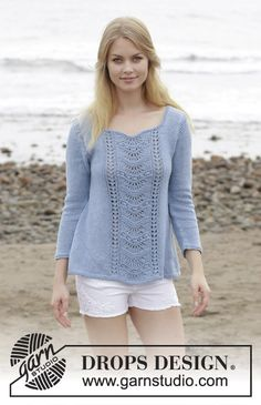 Key West Sweater - Sweater with lace pattern and A-shape, knitted top down. Size: S - XXXL Piece is knitted in DROPS Belle. - Free pattern by DROPS Design Knit Cardigan Pattern, Sweater Knitting Patterns, Lace Knitting, Drops Design, Key West, Gilet Rose, Magazine Drops, Summer Knitting, How To Purl Knit