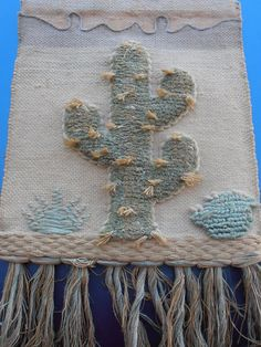 Vintage handmade Jute wall hanging, Cactus, hippie