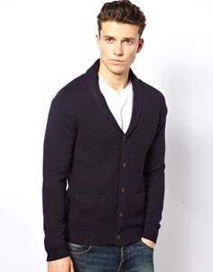 Selected Textured Cardigan. Nice, chunky cardigan. The collar gives it a more adult look, and the material makes it seem more preppy(but in a good classy way, not like abrecrombie)