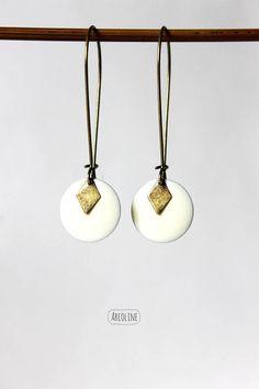 Boucles d'oreilles Sequin émaillé Blanc
