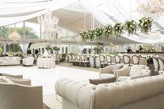 Champagne-Hued Lounge Space Around Dance Floor Photography: Annette Navarro Read More: http://www.insideweddings.com/weddings/romantic-garden-wedding-with-white-green-motif-in-cincinnati/959/