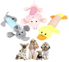 Pustor Animal Cute Squeaky Plush Puppies Toys Sound Plush Long Pet ToysSqueakers Dogs Toys Pack of 3 ** You can find more details by visiting the image link. (This is an affiliate link) #DogToys