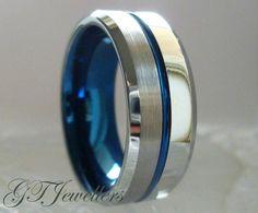 Tungsten Wedding Band, Blue Tungsten Ring, Brushed Tungsten Ring, 8mm, Stripe, Engagement, Comfort Fit, Mens Wedding Band TR75, Custom