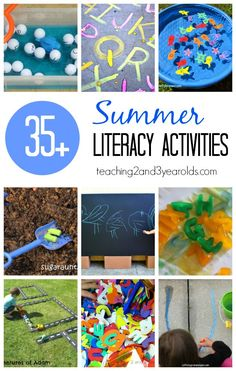 This awesome collection of preschool literacy ideas are perfect for summer break. Have fun with water, chalk, sensory, and more while exposing young children to the alphabet! #summer #literacy #alphabet #abc #reading #writing #preschool #AGE3 #AGE4 #teaching2and3yearolds Preschool Literacy, Early Literacy, Literacy Activities, Preschool Letters, Preschool Ideas, Alphabet Activities, Language Activities, Summer Activities For Kids, Toddler Activities