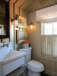 sink, walls, lighting, window shutters - charming
