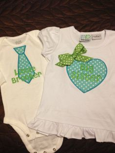 Big Sister/Little Brother Shirt and Bodysuit by PinkDoorDesigns, $38.50