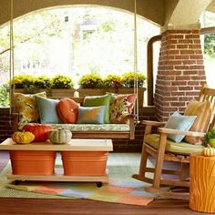 Fall Front Porch Decorating Ideas Marv, let's pull the bushes out from the front yard and add a porch swing in their place! Outdoor Rooms, Outdoor Living, Outdoor Decor, Outdoor Fabric, Outdoor Stuff, Estilo Interior, Diy Porch, Porch Ideas, Porch Table