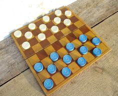 Checkers Complete Wooden Set Plastic Pieces by MerilinsRetro