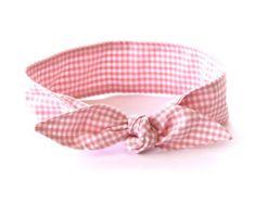 Bow Headband Rosie the Riveter Pink Gingham Rockabilly Pin Up Women Teen Girls Headscarf Top Knot Headband Rockabilly