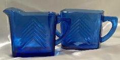 "Depression Glass Price Guide: Chevron Cream and Sugar - Cobalt or ""Ritz"" Blue"