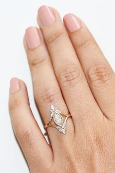 Unique Marquise Diamond engagement Ring by silly shiny diamonds vintage art deco style