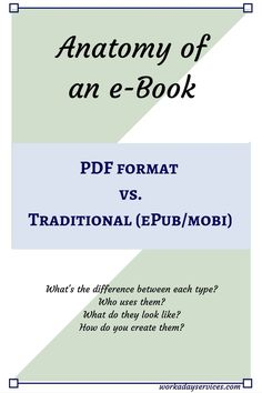 The Difference between an PDF e-book and Traditional formats like ePub and mobi