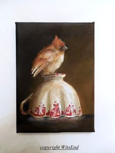 "'LITTLE RED'S ROSY PERCH' (7th in series ""Little Bird's Tea"").Bird Teacup painting original still life Cardinal Baby by 4WitsEnd, via Etsy"