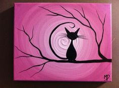 Kitty watching the sunset painting. Pink swirly sun, cat in a tree silhouette beginner canvas painting.