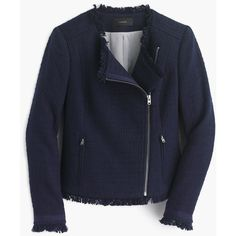 J.Crew Tweed Motorcycle Jacket With Fringe ($115) ❤ liked on Polyvore featuring outerwear, jackets, moto jacket, fringe motorcycle jacket, shiny jacket, evening jackets and tall motorcycle jacket
