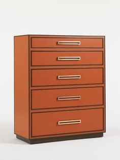 Mahogany trim in a dark walnut finish; solid brass hardware in a bright brass finish; tangerine leather drawer fronts, top and end panels; and 5 drawers --the top drawer felt lined with a divided jewelry tray.   Aquarius - Aria Chest