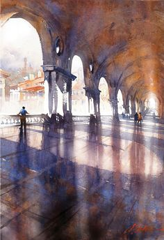 palladian loggia - vicenza, italy Thomas Schaller-watercolor (Vicenza is where my brother-in-law, Art, was stationed. Art Watercolor, Watercolor Landscape, Watercolor Projects, Watercolor Architecture, Art And Architecture, Painting & Drawing, Painting Tips, Gouache Painting, Oil Paintings