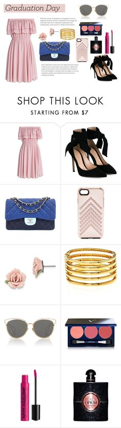 """Graduation Day"" by amberlee2005 ❤ liked on Polyvore featuring Chicwish, Gianvito Rossi, Chanel, Rebecca Minkoff, 1928, Kenneth Jay Lane, Christian Dior, Vapour, NYX and Yves Saint Laurent"
