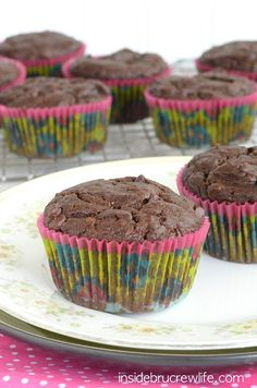 Chocolate Avocado Muffins from - chocolate and avocado come together in one amazing chocolate muffin