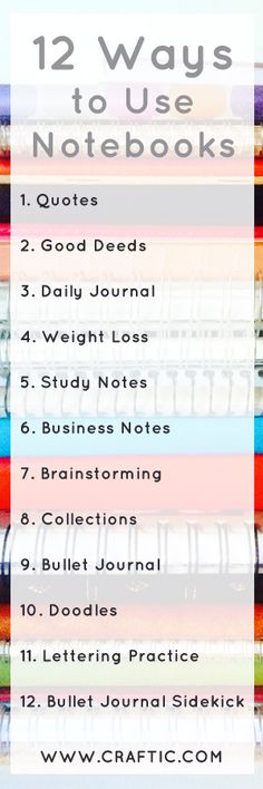 If you're a stationery addict or notebook addict, you may have a large notebook collection! If you need some ideas on how to use up all those notebooks, here's this handy list. Now updated with 12 ways to use all those notebooks - a quotes notebook, a bullet journal, lettering practice for improving your handwriting, a daily journal, a notebook to store your business notes and a few other ideas!