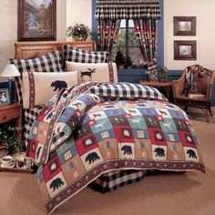 Rustic Bedding Collections - Rocky Mountain Cabin Decor offers a number of rustic bedding collections to turn any bedroom into a true rustic lodge.Our cabin bedding sets include one-of-a-kind quilts, extraordinarysoft plaid and fleece blankets, invi Full Comforter Sets, Bedding Sets, Bed Sets, Twin Comforter, Tribal Bedding, Western Bedding, Rustic Comforter, Caber, Black Forest Decor