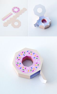 Free printable donut gift box. This looks so awesome to hide fun stuff in, candy!