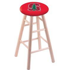 Stanford Cardinals Swivel Stool w/ Natural Maple Wood Base