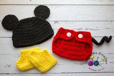 Crochet Newborn baby boy Mickey Mouse Hat Diaper by Stephyscrochet, $40.00