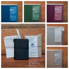 Passport size Midori Travelers Notebook in black and refills   Bookbinders Online