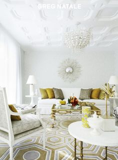White walls yellow highlights and geometric pattern play Greg Natale.