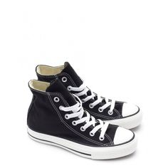 Converse Chuck Taylor All Star Hi Top Sneakers ($76) ❤ liked on Polyvore featuring shoes, sneakers, converse, black, black lace shoes, lace up shoes, black sneakers, black hi tops and converse sneakers