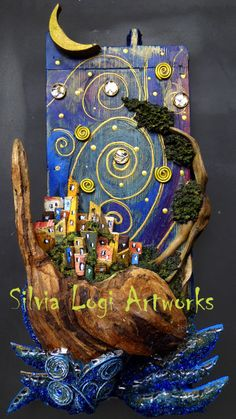 #wood and natural materials mosaic on old wood board representing a sea village. See more on FB page https://www.facebook.com/pages/Silvia-Logi-Artworks/121475337893535?ref=br_rs