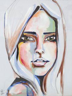 ORIGINAL watercolor portrait painting colorful fashion