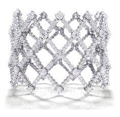 Harry Winston - Open Lattice Bracelet.    340 round diamonds, 25.84 carats; platinum setting.