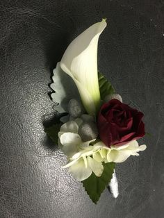 Russ and Mark White calla lily and red spray rose boutonnière - Calla Lily Wedding Flowers, Prom Flowers, Bridal Flowers, Grey Weddings, Wedding Stuff, Wedding Ideas, Rose Corsage, Rose Boutonniere, November Wedding